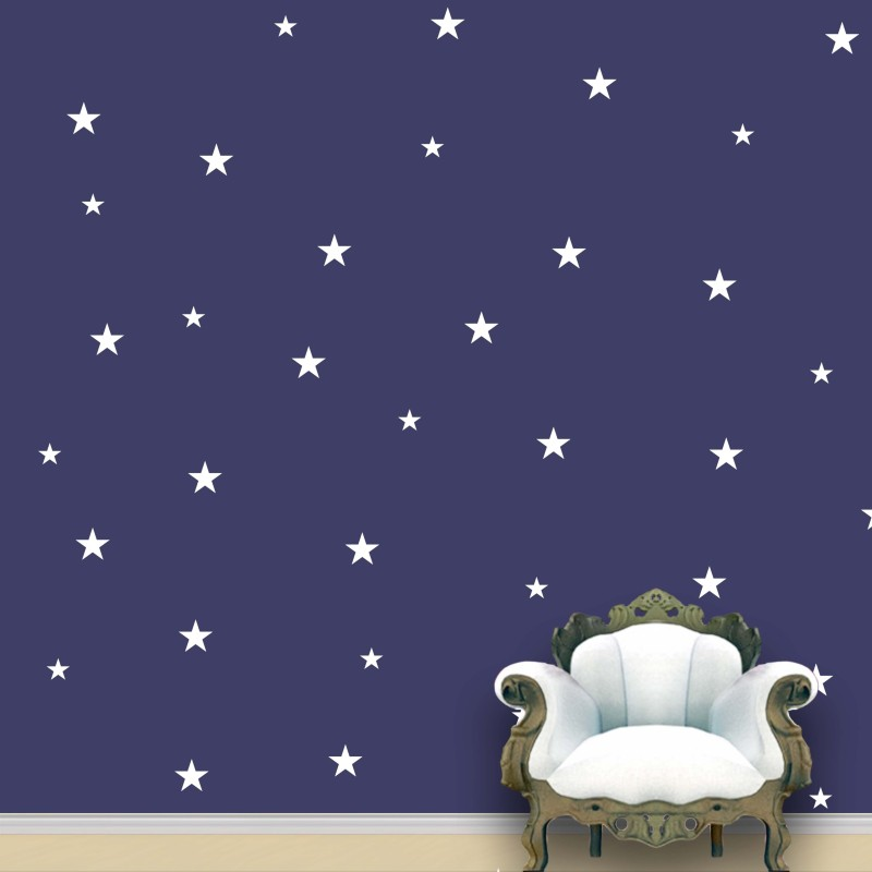 WallDesign Stars Wall Pattern White Stickers Set of 118(7.5 cm X cm 7.5, White)