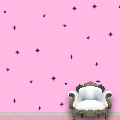 WallDesign Shining Star Wall Pattern Blue Navy Stickers Set of 60