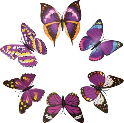 KARP 6 Pcs Removable Magnet Wall 3D Butterfly Sticker-Purple