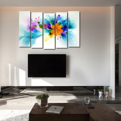 999 Store Multiple Frames Printed Flower like Modern Wall Art Painting - 5 Frames (148 X 76 Cms)