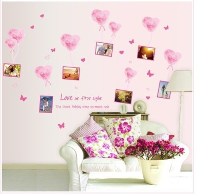 Oren Empower Pink love balloon frame large wall sticker(115 cm X cm 185, Pink)