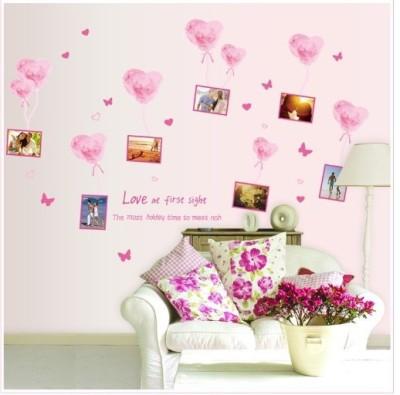 Oren Empower Pink love balloon frame large wall sticker