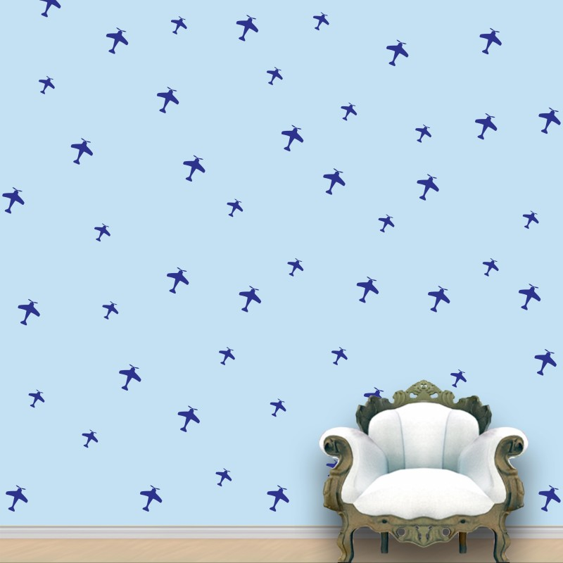 WallDesign Aeroplanes Wall Pattern Blue Prussian Stickers Set of 52(12.5 cm X cm 11.25, Blue)