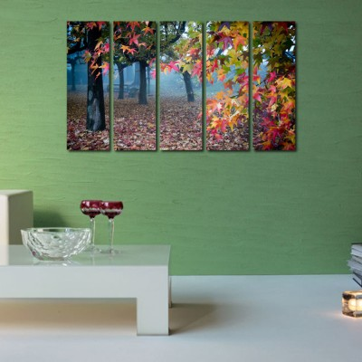 999 Store Multiple Frames Printed Forest like Modern Wall Art Painting - 5 Frames (148 X 76 Cms)