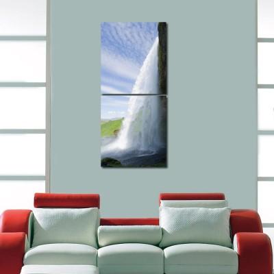 999 Store Multiple Frames Printed Waterfall like Modern Wall Art Painting -2 Frames (76x25 cm)