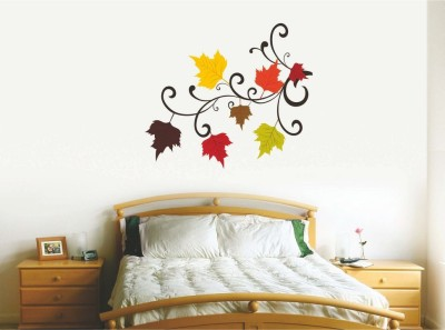 Happy walls Stickers colorfull blssom Leaves in home design 9004(88 cm X cm 100, Multicolor)