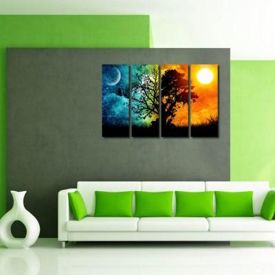 999 Store Multiple Frames Printed Sunrise at Tree like Modern Wall Art Painting - 4 Frames (127x76 Cm)