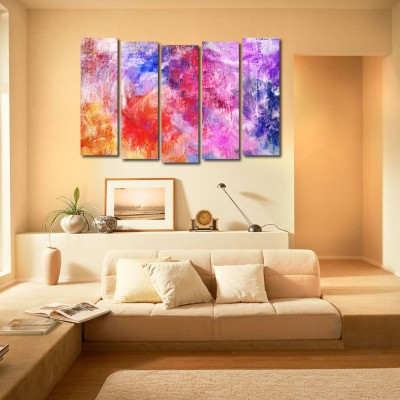 999 Store Multiple Frames Printed Colouful Designs like Modern Wall Art Painting - 5 Frames (148 X 76 Cms)