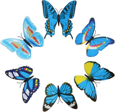 KARP 6 Pcs Removable Magnet Wall 3D Butterfly Sticker-Blue