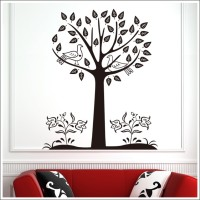 Oren Empower Black tree large wall sticker(115 cm X cm 92, Black)
