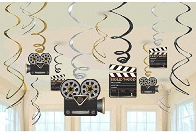 Amscan Movie Foil Swirl Hanging Decorations(Multicolor)
