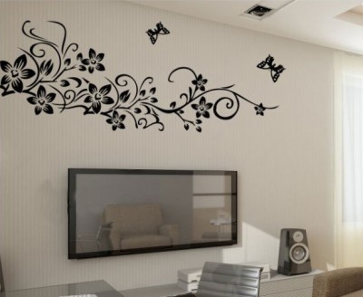Oren Empower Beautiful Black flower large wall sticker(75 cm X cm 150, Black)