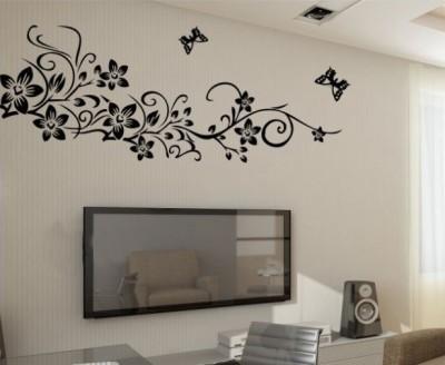 Oren Empower Beautiful Black flower large wall sticker