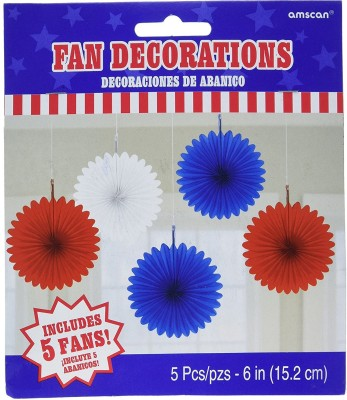 Amscan Mini Hanging Fan Decoration(Red)
