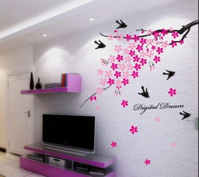 Oren Empower Moment of fun with flying birds large wall sticker with beautiful flowers