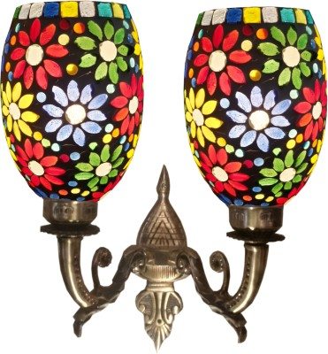 Weldecor Antiqua Brasso Floral 2 Glass Lamp Night Lamp