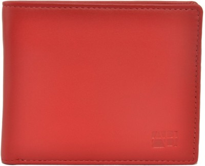 Indostyle Men Casual Red Genuine Leather Wallet(4 Card Slots)