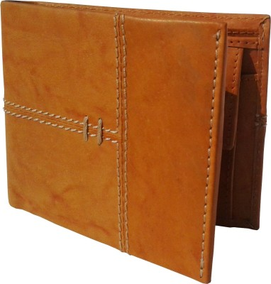 NUKAICHAU Men Tan Genuine Leather Wallet(3 Card Slots)