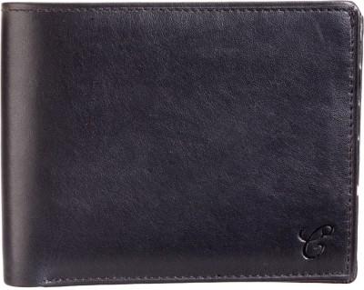 Contrast Men Black Genuine Leather Wallet