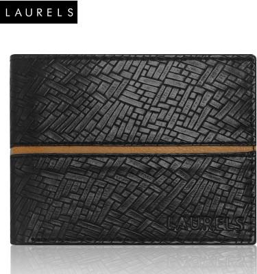 Laurels Men Black Artificial Leather Wallet(8 Card Slots)