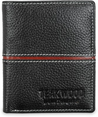 Teakwood Men Black Genuine Leather Wallet(2 Card Slots)