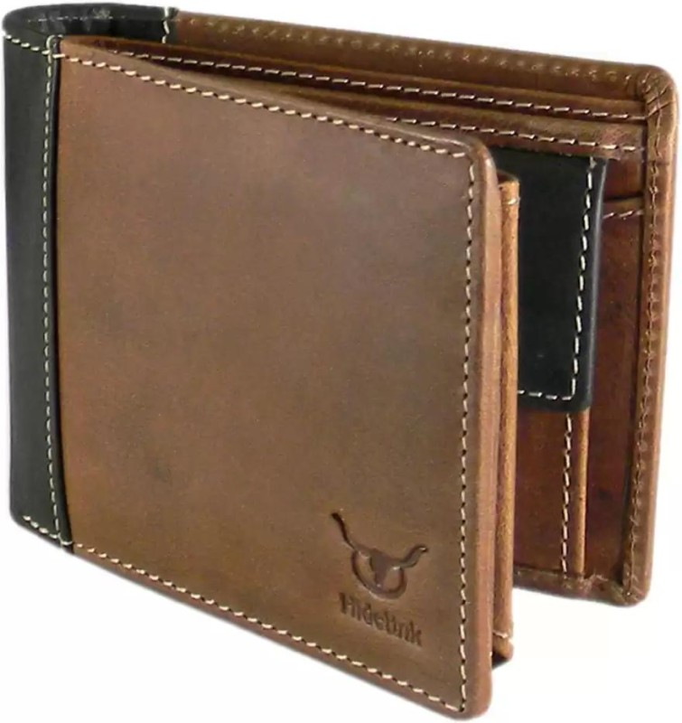 Hidelink Men Formal Brown Genuine Leather Wallet(9 Card Slots)
