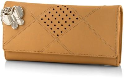 Butterflies Women Beige Artificial Leather Wallet(5 Card Slots)