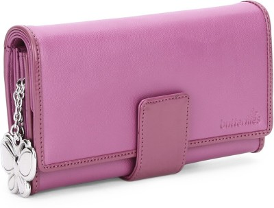 Butterflies Women Casual, Evening/Party Pink Artificial Leather Wallet