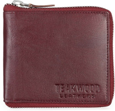 Teakwood Men Brown Genuine Leather Wallet(2 Card Slots)