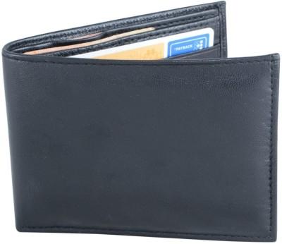 Holboro Men Black Genuine Leather Wallet(8 Card Slots)