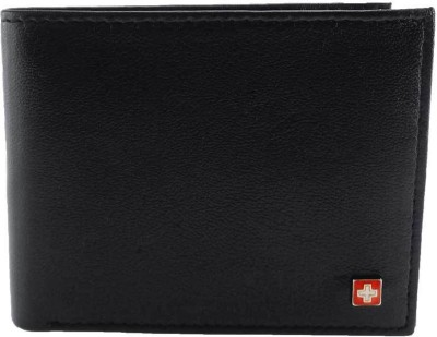 Swiss Military Men Black Genuine Leather Wallet(6 Card Slots)