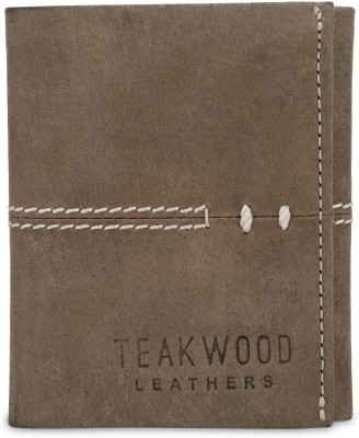 Teakwood Men Brown Genuine Leather Wallet(8 Card Slots)