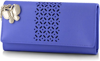 Butterflies Women Blue Artificial Leather Wallet(5 Card Slots)