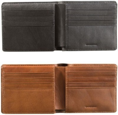 Ruchiworld Boys Black, Brown Genuine Leather Wallet(3 Card Slots)