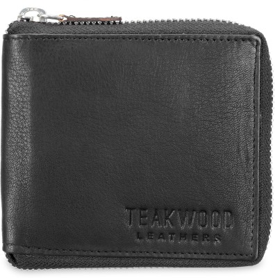 Teakwood Men Black Genuine Leather Wallet(3 Card Slots)