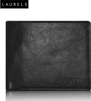 Laurels Men Black Genuine Leather Wallet(7 Card Slots)