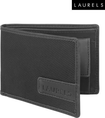 Laurels Men Black Artificial Leather Wallet(3 Card Slots)