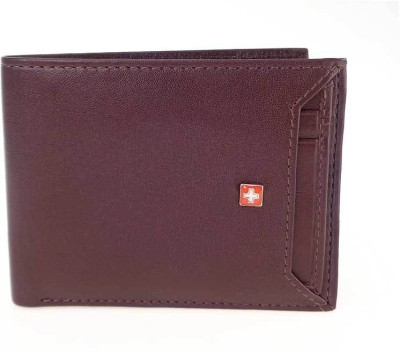 Swiss Military Men Brown Genuine Leather Wallet(10 Card Slots)