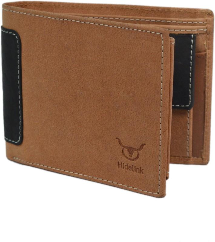 Hidelink Men Brown Genuine Leather Wallet(9 Card Slots)