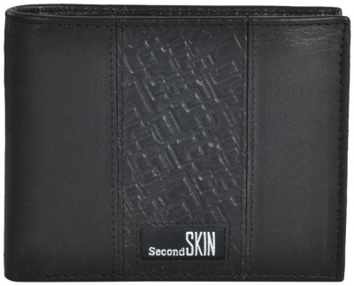 Second SKIN Men Black Genuine Leather Wallet(10 Card Slots)
