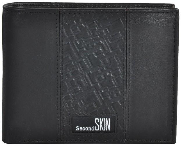 Second SKIN Men Black Genuine Leather Wallet(10 Card Slots)