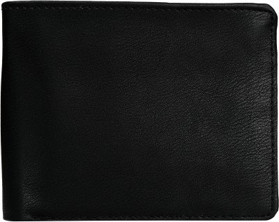 Exotique Men Black Genuine Leather Wallet(8 Card Slots)