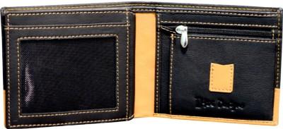 DHide Designs Men Black, Tan Genuine Leather Wallet(10 Card Slots)