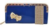 PELLET Women Blue Canvas Wallet (12 Card...