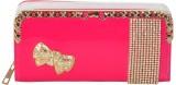 PELLET Women Pink Canvas Wallet (12 Card...