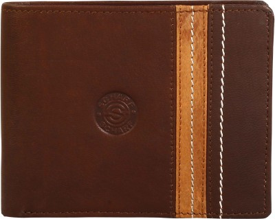Scharf Men Brown Genuine Leather Wallet(9 Card Slots)