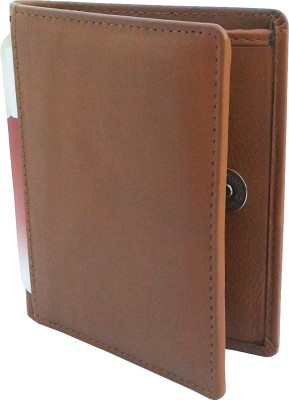 NUKAICHAU Men Tan Genuine Leather Wallet(8 Card Slots)
