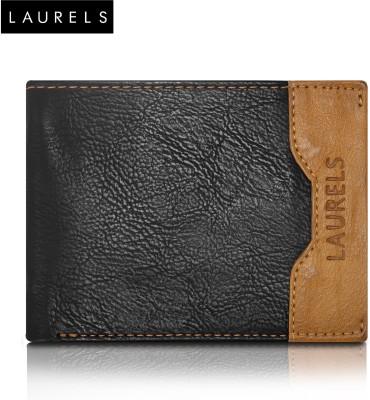 Laurels Men Black Genuine Leather Wallet(6 Card Slots)