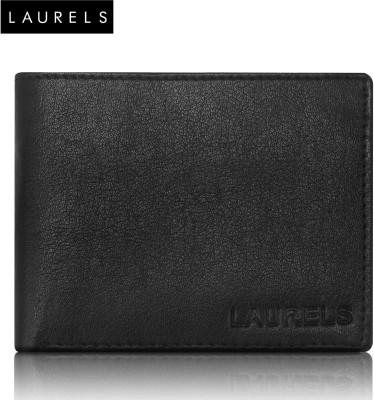 Laurels Men Black Genuine Leather Wallet(8 Card Slots)