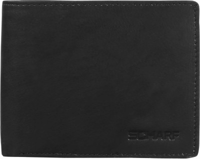 Scharf Men Black Genuine Leather Wallet(8 Card Slots)